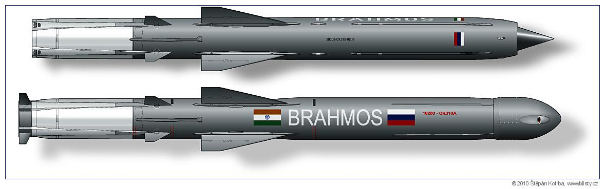 cruise missile BrahMos I and BrahMos A. Drawing  (C) Štěpán Kotrba, www.blisty.cz
